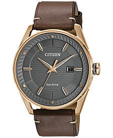 Citizen Drive from Citizen Eco-Drive Men's Brown Leather Strap Watch 42mm BM6983-00H