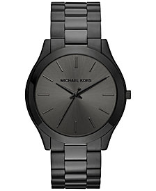 Michael Kors Unisex Slim Runway Black Ion-Plated Stainless Steel Bracelet Watch 44mm MK8507
