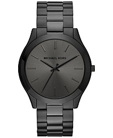 4725984859bc Michael Kors Unisex Slim Runway Black Ion-Plated Stainless Steel Bracelet  Watch 44mm MK8507