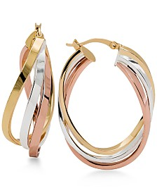 Tri-Tone Twisted Hoop Earrings in Sterling Silver, 14k Gold-Plate and 14k Rose Gold-Plate
