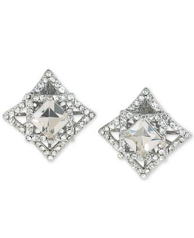 Carolee Silver-Tone Geometric Crystal Clip-On Earrings