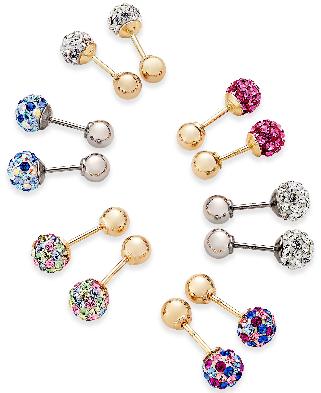 Children's Crystal Ball Reversible Stud Earrings Collection In 14k Gold And  White Gold