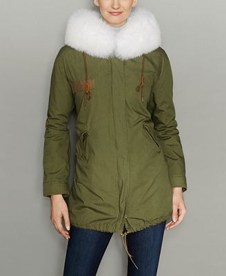 The Fur Vault Rabbit-Fur-Lined Hooded Parka - The Fur Vault ...