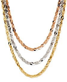Tri-Tone Three Row Necklace in 14k Rose, White and Yellow Gold