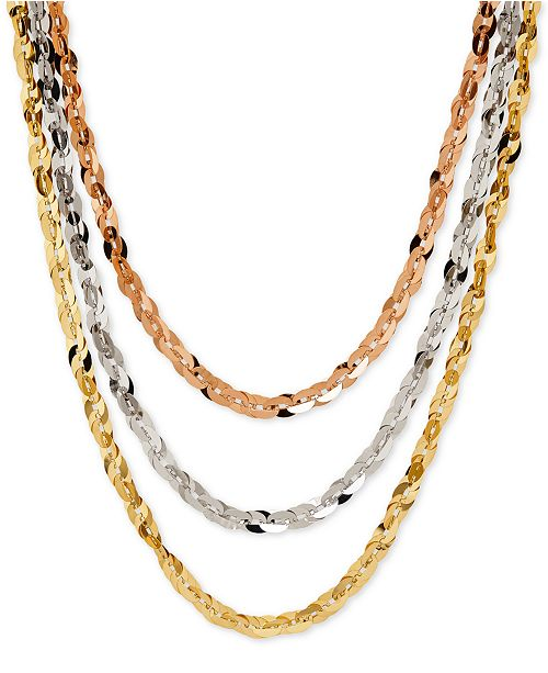 Macy's Tri-Tone Three Row Necklace in 14k Rose, White and Yellow Gold