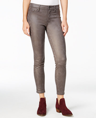 7 For All Mankind Leather Like Skinny Jeans - Jeans - Women - Macy's