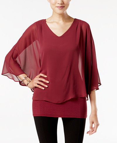 Joseph A V-Neck Cape Top
