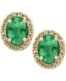 EFFY® Emerald, Ruby, Sapphire, or Tanzanite and Diamond Stud Earrings in 14k Gold