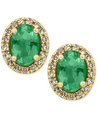 Brasilica by EFFY® Emerald (7/8 ct. t.w.) and Diamond (1/8 ct. t.w.) Stud Earrings in 14k Gold