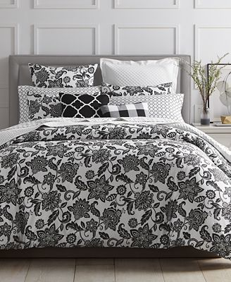 LAST ACT! Charter Club Damask Designs Black Floral 3-Pc. King Duvet Set, Created for Macy's