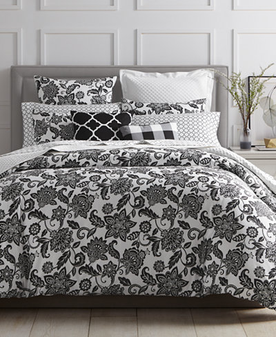 CLOSEOUT! Charter Club Damask Designs Black Floral Comforter Sets, Created for Macy's