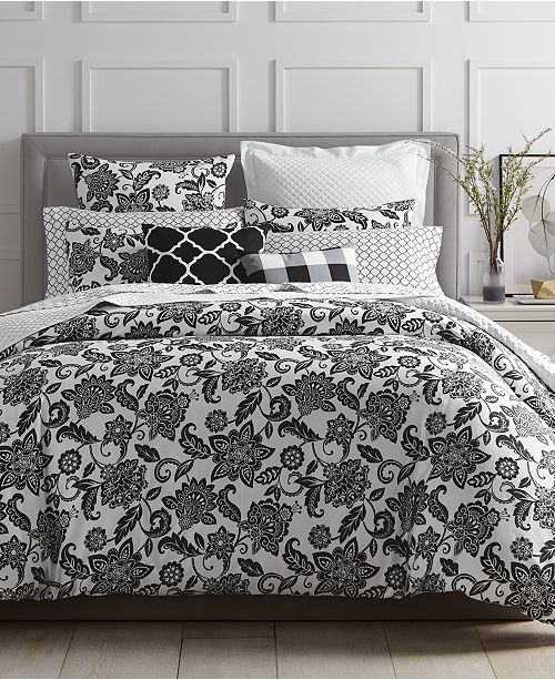Charter Club Last Act Black Floral Bedding Collection Created For