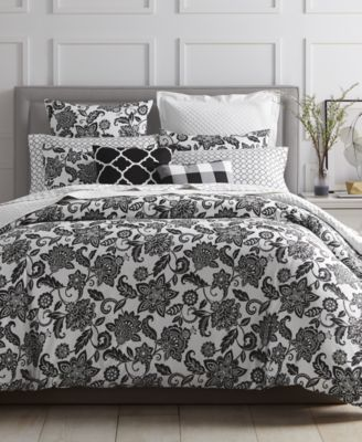 Charter Club Damask Designs Black Floral Bedding Collection, Created For  Macyu0027s