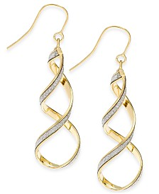 Italian Gold Glitter Twist Drop Earrings in 14k Gold