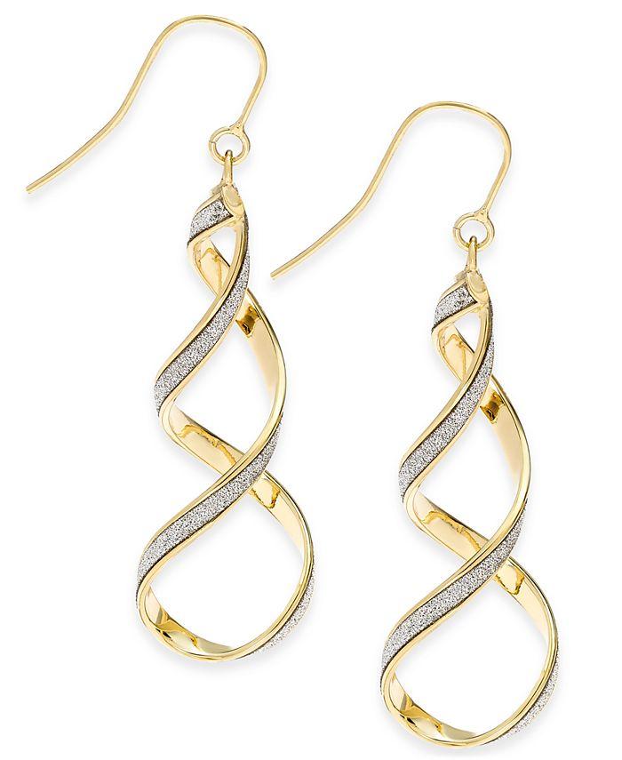 Italian Gold - Glitter Twist Drop Earrings in 14k Gold