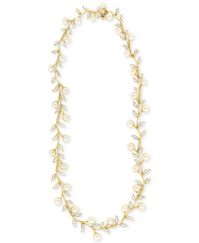 Cultured Freshwater Pearl (5mm) and Diamond (1/2 ct. t.w.) Collar Necklace in 14k Gold