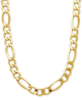 Italian Gold Mens Figaro Link Chain Necklace in 10k Gold