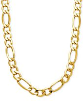 Italian Gold Men's Figaro Link Chain Necklace in 10k Gold
