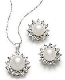 Cultured Freshwater Pearl and Diamond Accent Pendant and Earrings Set in 10k White Gold