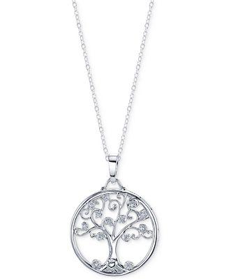 Unwritten Cubic Zirconia Family Tree Pendant Necklace in Sterling Silver