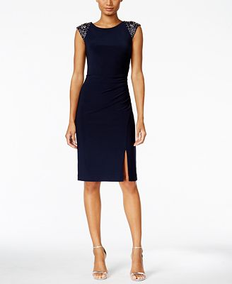 Vince Camuto Beaded Ruched Sheath Dress