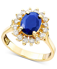 Royalty Inspired by EFFY Sapphire (1-9/10 ct. t.w.) and Diamond (1/2 ct. t.w.) Oval Ring in 14k Gold, Created for Macy's