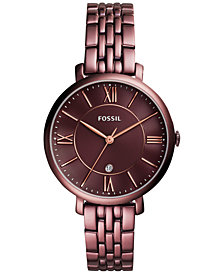 Fossil Women's Jacqueline Red-Tone Stainless Steel Bracelet Watch 36mm ES4100