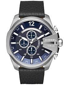 Diesel Men's Chronograph Mega Chief Black Leather Strap Watch 51mm  DZ4423