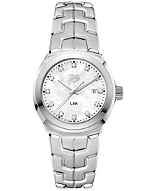 TAG Heuer Women's Swiss LINK Diamond (1/10 ct. t.w.) Stainless Steel Bracelet Watch 32mm WBC1312.BA0600