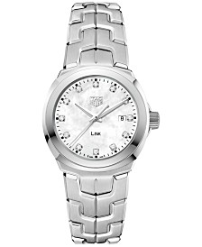 TAG Heuer Women's Swiss LINK Diamond (1/10 ct. t.w.) Stainless Steel Bracelet Watch 32mm