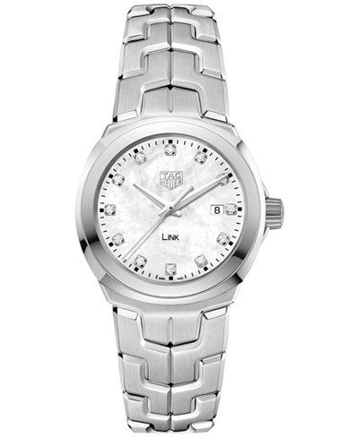 TAG Heuer Women's Swiss LINK Diamond (1/10 ct. t.w.) Stainless Steel Bracelet Watch 32mm WBC1312.BA0600
