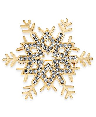 Gold-Tone Pavé Snowflake Pin, Created for Macy's