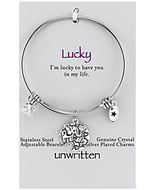 Unwritten Elephant Lucky Disc Bangle Bracelet in Stainless Steel and Silver-Plate