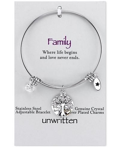 Unwritten Silver-Tone Tree Adjustable Bangle Bracelet
