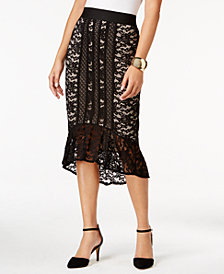 Thalia Sodi Lace Flounce High-Low Skirt, Created for Macy's