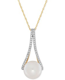Freshwater Pearl (10mm) and Diamond (1/4 ct. t.w.) Pendant Necklace in 14k Gold