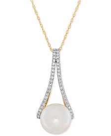 Honora Freshwater Pearl (10mm) and Diamond (1/4 ct. t.w.) Pendant Necklace in 14k Gold