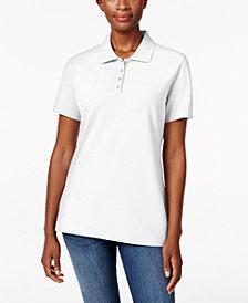 Karen Scott Petite Piqué Cotton Polo Shirt, Created for Macy's