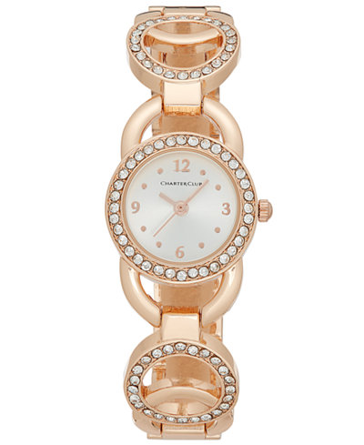 Charter Club Women's Rose Gold-Tone Pavé Link Bracelet Watch 24mm, Only at Macy's