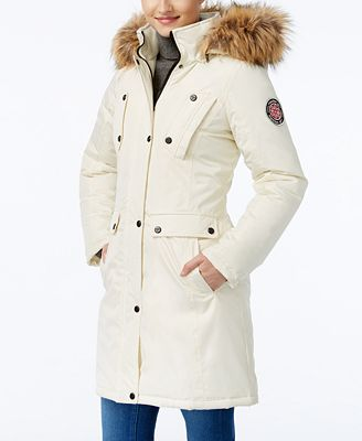 Madden Girl Faux-Fur-Trim Hooded Parka - Coats - Women - Macy's