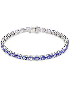 Tanzanite Tennis Bracelet (15 ct. t.w.) in Sterling Silver, Created for Macy's