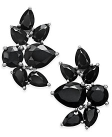 Black Sapphire Fancy Stud Earrings (10 ct. t.w.) in Sterling Silver