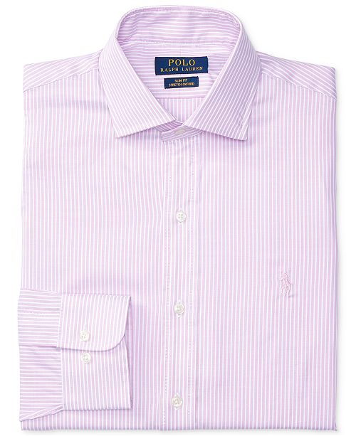 Polo Ralph Lauren Men's Slim-Fit Stretch Pink Striped Dress