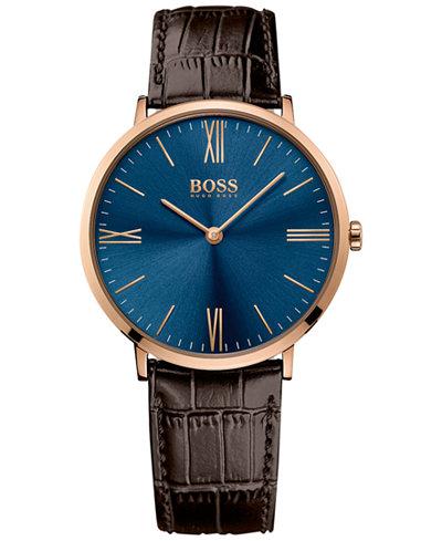 BOSS Hugo Boss Men's Jackson Brown Leather Strap Watch 40mm 1513458