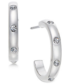 kate spade new york Infinity & Beyond Silver-Tone Small Hoop Earrings