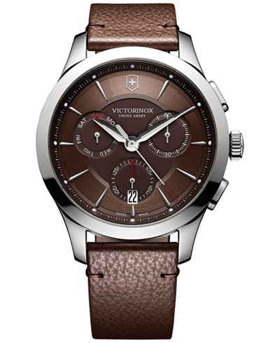 Victorinox Swiss Army Men's Swiss Chronograph Alliance Brown Leather Strap Watch 44mm 241749