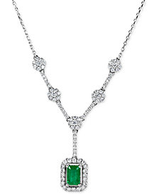 Emerald (5/8 ct. t.w.) and Diamond (5/8 ct. t.w.) Lariat Necklace in 14k White Gold
