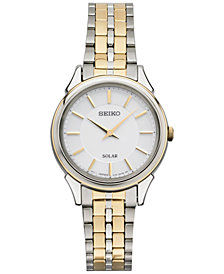 Seiko Women's Solar Slimline Two-Tone Stainless Steel Bracelet Watch 27mm SUP344