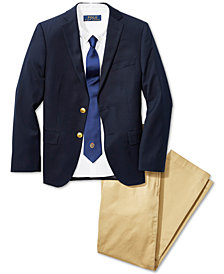 Ralph Lauren Blake Oxford Shirt, Embroidered Tie, Solid Blazer & Suffield Pants, Toddler, Little Boys & Big Boys