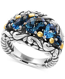 EFFY® Ocean Bleu Blue Topaz Ring (3-5/8 ct. t.w.) in Sterling Silver and 18k Gold